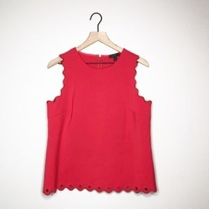 J. Crew Red Scalloped Tank Top with Gromets